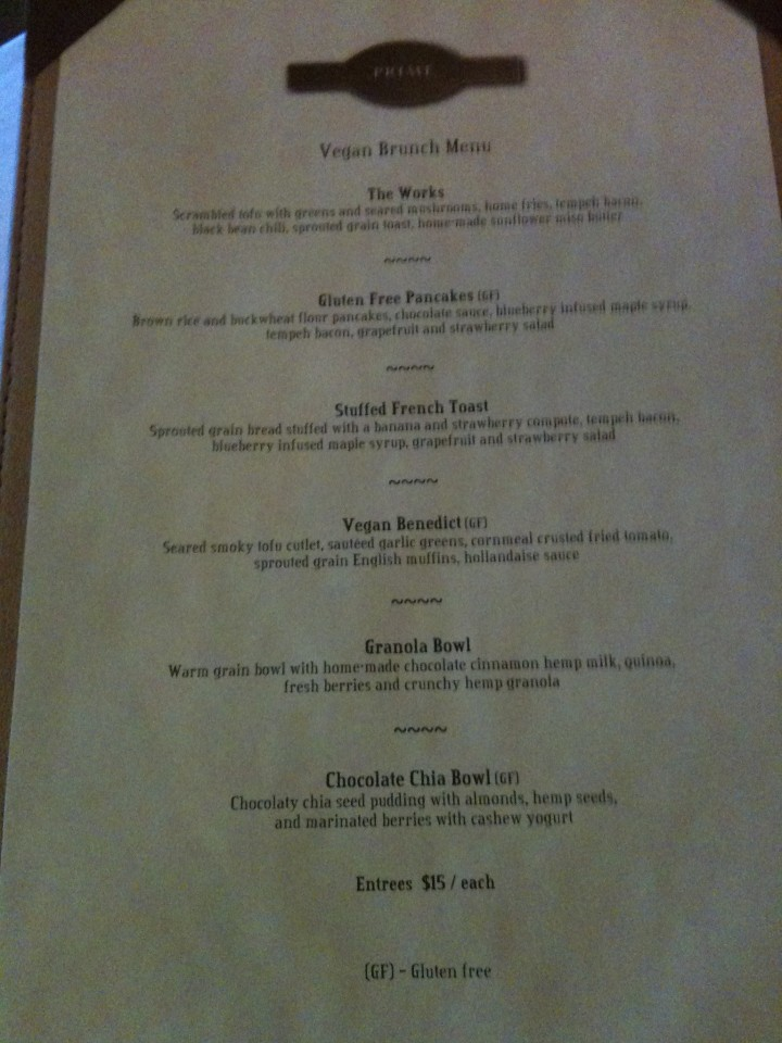 windsor arms vegan brunch menu
